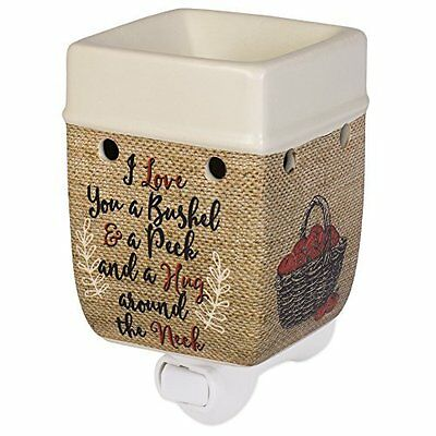 I Love You A Bushel And A Peck Burlap Apples Cream Ceramic Stone Plug-In Warmer