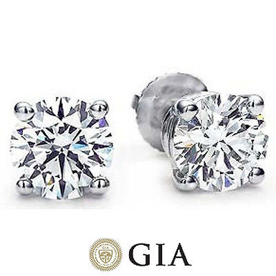 3.00 ct Round Ideal cut Diamond Studs Platinum Earrings w/ GIA report H color VS