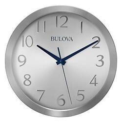 *BRAND NEW* Bulova Winston Silver Blue Hands Wall Clock C4844