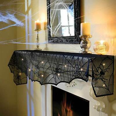 Halloween Cobweb Decorations (Lighted Lace Cobweb Mantel Scarf, Halloween Decorations,18x96 in. )