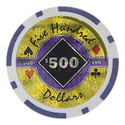 Black Diamond 14g Poker Chips, $500 Heavy Weight Clay Composite, - Diamond Clay Composite Poker Chips