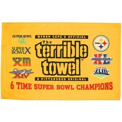 6 Time Pittsburgh Steelers Terrible Towel 6 6X Super Bowl Champs Champion Rings