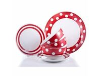 New Red & White 12 Piece Porcelain Dinne
