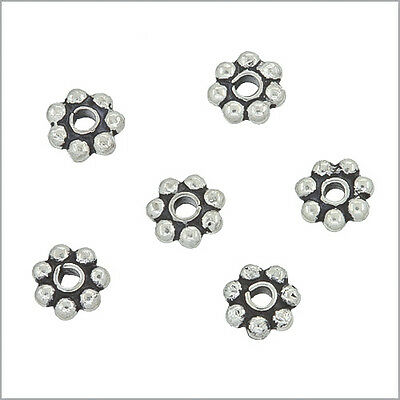 20 Bali Sterling Silver Daisy Rondelle Spacer Beads 4mm (Bali Sterling Silver Spacer Beads)