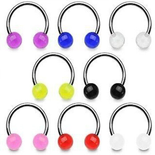 "D#28 - UV Ball Circular Barbells 16g 3/8"" horseshoes"