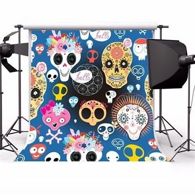 Cute Halloween Background (Halloween Cute Skulls Photography Backgrounds 5x5ft Photo Studio Backdrops)