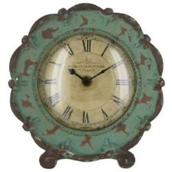 Stunning Turquoise Pewter Table Clock. Vintage Rustic With Decorative Moldings