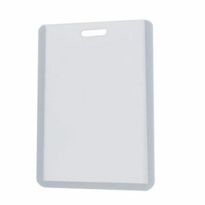 Vertical Business Id Badge Card Holder Gray Clear Hard Plastic 4 X 2 12