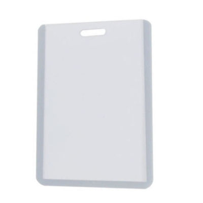 "Vertical Business ID Badge Card Holder Gray Clear HARD PLASTIC ( 4"" X 2 1/2"" )"