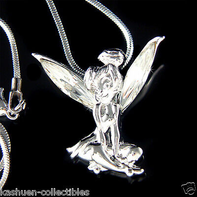 w Swarovski Crystal ~Tinker Bell~~ Fairy Tinkerbell ANGEL Charm Pendant Necklace - Angel Bell Necklace