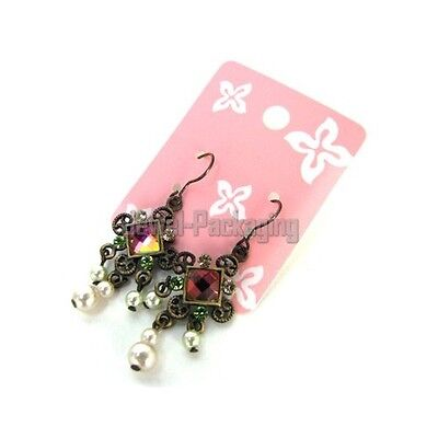 100 Pink Color Earring Hang-hole Card Jewelry Retail Display 1.6x2 Or 4x5 Cm