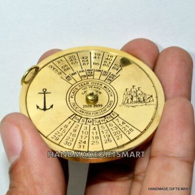 100 YEAR PERPETUAL VINTAGE CALENDAR PENDENT CHARM ANTIQUE BRASS VINTAGE STYLE