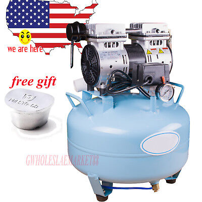 Portable Dental Medical Silent Noiseless Oilless Air Compressor Oilfree 30l 550w