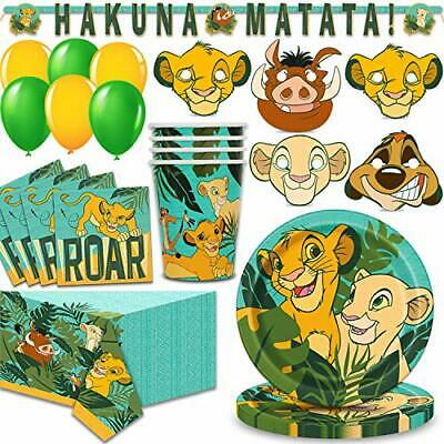 Lion King Party Supplies for 16 - Large Plates, Napkins, 16 Masks, Table Cover, - Lion King Table Cover
