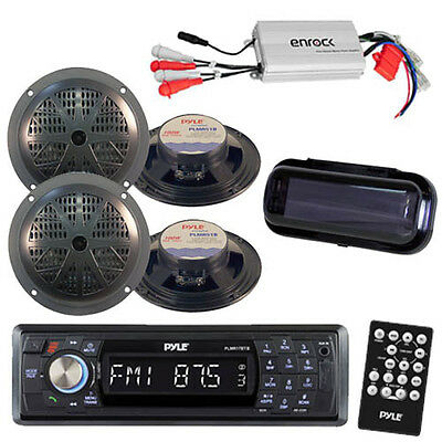 Pyle Marine AM/FM Radio Stereo System & Bluetooth & Cover +