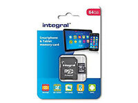 Integral 64 GB microSDXC Class 10 Memory Card for Smartphones and Tablets up to 90 MB/s, U1 Rating