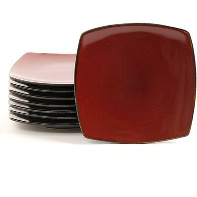 "Gibson Home Soho Lounge 7.5"" Square Dessert Plates, Red, Set of 8"