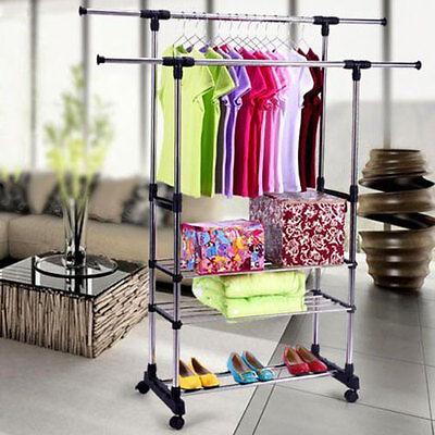 Portable Double Adjustable Heavy Duty Clothes Hanger Rolling Rail 3 Tier Rack