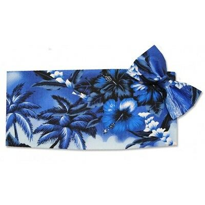 (Blue Hawaiin Flowers Cummerbund and Bowtie Set)
