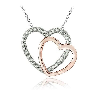 Sterling Silver Diamond Accent Double Open Heart