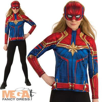 Captain Marvel Hero Suit Ladies Fancy Dress Superhero Heroine Adults Costume Top - Marvel Heroines Costumes