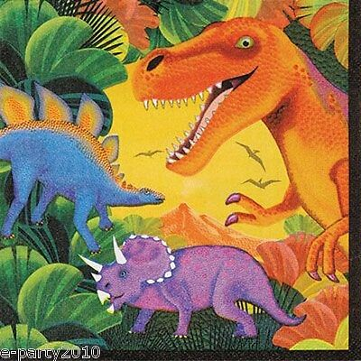 DINOSAURS Prehistoric Party LUNCH NAPKINS (16) ~ Birthday Supplies Serviettes - Prehistoric Party Supplies