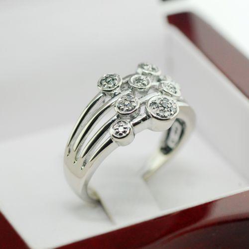 multi row diamond ring ebay. Black Bedroom Furniture Sets. Home Design Ideas