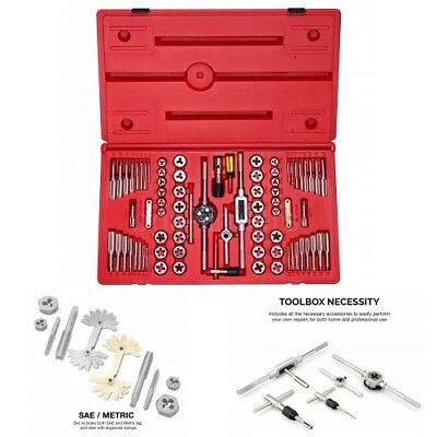 Sae And Metric Tap And Hexagon Die Set Alloy Steel 76-piece Set Carrying Case