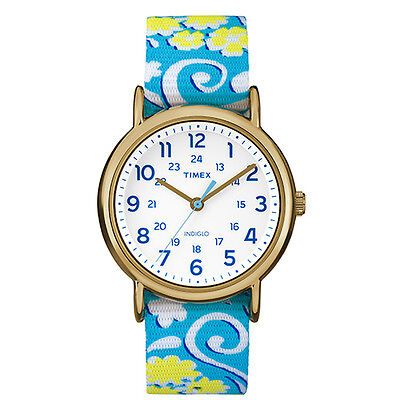 """Timex TW2P90100, Women's """"Weekender"""" Floral Fabric Watch, Indiglo"""