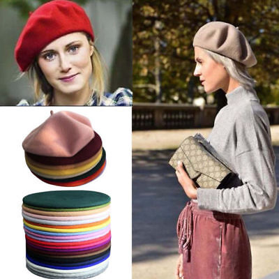 Sweet Womens Solid Wool Beret French Artist Warm Beanie Hat Winter Ski Cap New - French Artist Beret