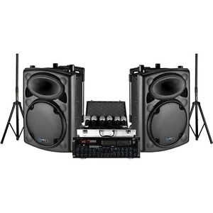 "Dual 12"" PA Speaker Package with Mixer Amp and Microphones"