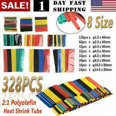 328pcs Cable Heat Shrink Tubing Sleeve Wire Wrap Tube 2:1 Assortment Kit Set US! Business & Industrial