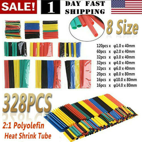 US! 328pcs Cable Heat Shrink Tubing Sleeve Wire Wrap Tube 2:1 Assortment Kit Set