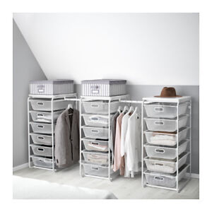 IKEA: ALGOT WARDROBE SYSTEM W 3 CLOTHES RACKS(white)