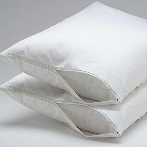 Set of 2 Bed Bug & Dust Mite Pillow Protector Zipper Encasem