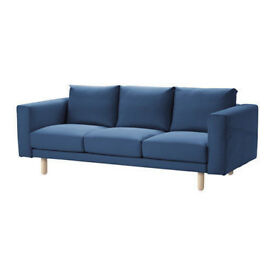 3 seat blue Norsborg IKEA fabric couch/sofa. 1.5 years old