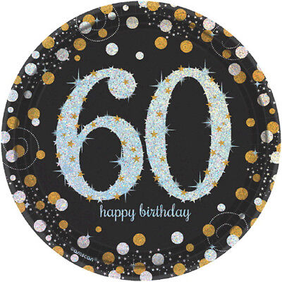 OVER THE HILL Sparkling Celebration 60th BIRTHDAY SMALL PLATES (8) ~ - 60th Birthday Supplies