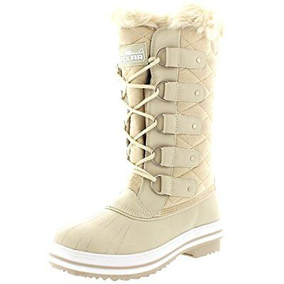 New Womens Winter Boots Snow Fur Warm Insulated Waterproof Beige Shoes Size 8