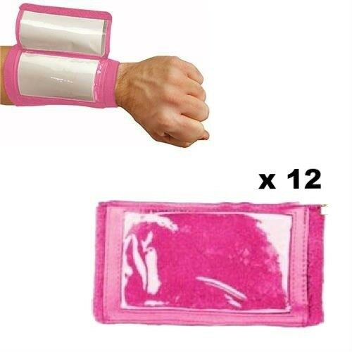 Martin Sports Dozen (12) ADULT 3 Pocket Football Baseball Wristband Coach, PINK