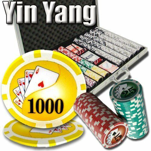 1,000ct. Yin Yang 13.5g Poker Chip Set in Aluminum Metal Carry Case