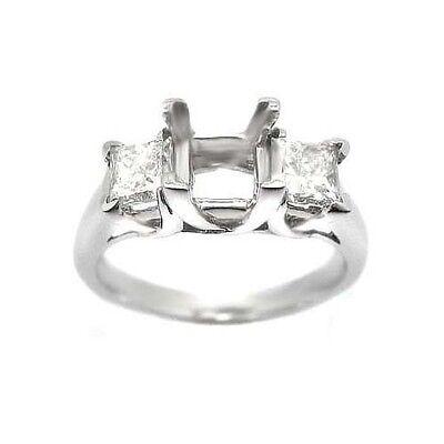 1.00 PRINCESS CUT 3 STONE DIAMOND RING SETTING MOUNTING 3 Stone Princess Ring Setting