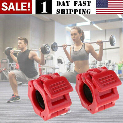 """Barbell Collar Clamp Heavy Duty Lock-Jaw for 1"""" Bar 1 Pair Standard Lock Barbells & Attachments"""