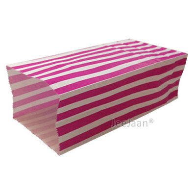 (PICK AND MIX BAGS) 500 Red Candy Stripe Gift Wedding Paper Party - 10cm x 25cm