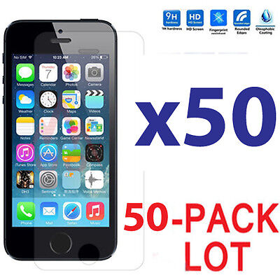 50x Wholesale Lot Tempered Glass Screen Protector for Apple iPhone 5/5C/5S