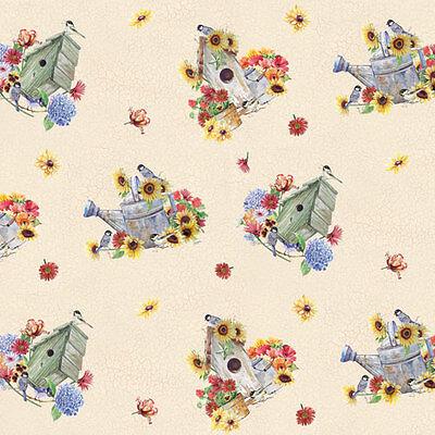 Fat Quarter Traum Garten creme Baumwolle Quilt Stoff 50cm x 55cm ()