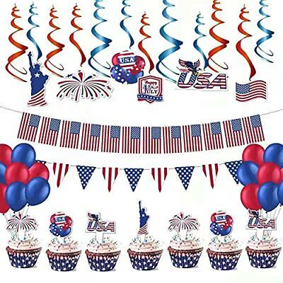 4th/Fourth of July Patriotic Hanging Swirls USA Flag Banner and decoration