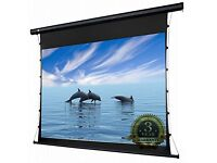 """120"""" motorised tab-tensioned projector screen for home cinema. Remote control included"""
