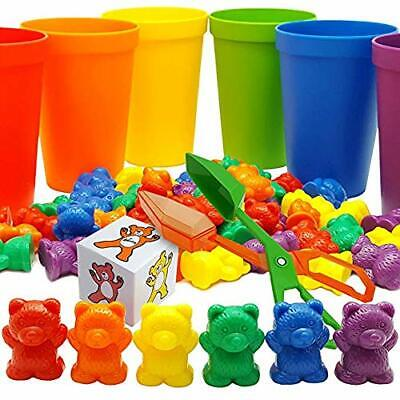 Skoolzy Rainbow Counting Bears with Matching Sorting Cups, Bear Counters and Dic