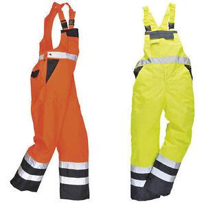 HI VIS WATERPROOF BIB & BRACE MOTORCYCLE DUNGAREES SAFETY WORK CLOTHES FISHING