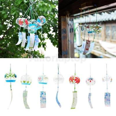 Japanisches Glas Furin Windspiel Bell Mobile Hängende Ornament Dekor Garten Deck